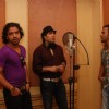 "Bollywood Singer Mika Singh with Music Director Sharib and Toshi during the song recording of Punjabi Film ""Will You Marry Me"" in Mumbai"