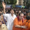 Rajeev Kapoor and Ranbir Kapoor at RK's Ganesha visarjan at  RK Studio, Chembur in  Mumbai on Wednesday Evening