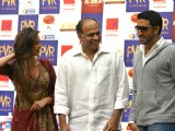 "Abhishek Bachchan, Deepika Padukone and Ashutosh Gowarikar to promote their film ""Khelein Hum Jee Jaan sey'', in New Delhi"
