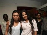 Rani Mukherji, Vidya Balan and music director Amit Trivedi promote their film No One Killed Jessica on Fever 104 FM with RJ Anurag Pandey at Saki Naka, Mumbai