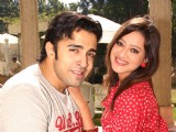 "Nilesh Sahay and Maddalsa Sharma at a press meet to promote their film ""Angel"" in New Delhi"