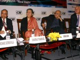 Ambika Soni with Chandrajit Banerjee and Amit Khanna at the CII Content Summit ''Adapting from Wired to Wireless' in New Delhi