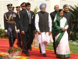 Pratibha Patil and Manmohan Singh, at the beginning of the Budget session, in New Delhi