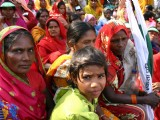 Landless Women from rural India demanding substantial progress at Parliament Street in New Delhi