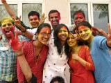 "Students playing ""Holi"" at IGNOU Campus in New Delh"