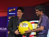 Shah Rukh Khan graces the KKR-Nokia tie-up media meet at the Taj Lands End