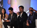 Director Karan Johar with Imran Khan and Kareena Kapoor at their film 'Ek Main Aur Ekk Tu' first look launch at Hotel Taj Lands