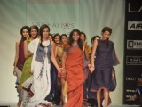 Model on the ramp for designer Vaishali Shadangule on Lakme Fashion Week day 3 in Mumbai