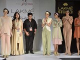 Model on the ramp for designers Kapil and Mnonika on Lakme Fashion Week day 5 in Mumbai