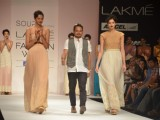 Model on the ramp for designer Sougat Paul on Lakme Fashion Week day 5 in Mumbai