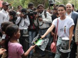 Bollywood actress Isha Sharwani supports the Go Green Initiative at CST in Mumbai