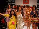 Monica Dogra showstopper for designer Pia Pauro at the LFW Winter Festive 2012