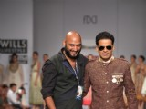 Bollywood actor Manoj Bajpayee designer Samant Chauhan show at Wills Lifestyle India Fashion Week -2013, In New Delhi