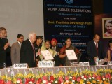 President Pratibha Devisingh Patil launching ''''flexi-learning platform'''' at the Silver Jubille Celebration of Indira Gandhi National Open University in New Delhi