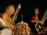 Sitar player Pt Ravi Shankar and his daughter Anoushka Shankar at the concert ''''Music in the Park'''', in New Delhi