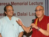 "Tibetan spiritual leader Dalai Lama with IGNOU Vice Chancellor V N Rajasekharan Pillai at the Mother Teresa memorial lecture ""Mother and compassion'' at Indira Gandhi National Open University, in New Delhi"