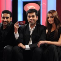 Aishwarya and Abhishek with Karan Johar on the sets of Koffee with Karan