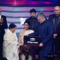 Lata Mangeshkar and Asha at Global Indian Music Awards on Wednesday night at Yash Raj Studios