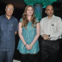 "Sooraj Barjatya with Vidhi Kasliwal in Launch of ""Isi Life Mein"" Film 