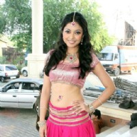 Tanushree Datta on the sets of Saas Bina Sasural