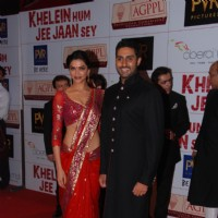 Bollywood actor Abhishek Bachchan and Deepika Padukone at the premiere of | Khelein Hum Jee Jaan Sey Event Photo Gallery
