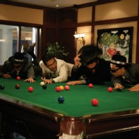 Sunil Shetty playing pool