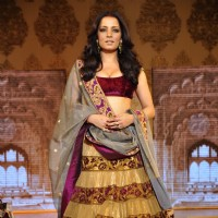 Celina Jaitley walk the ramp at Mizwan Show. .
