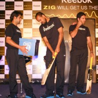 Cricketers Harbhajan Singh, Yusuf Pathan, Gautam Gambhir, Yuvraj Singh and M S Dhoni at a promotional event in New Delhi on Wed 2 Feb 2011. .