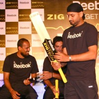 Cricketers Harbhajan Singh, Yusuf Pathan and Yuvraj Singh at a promotional event in New Delhi on Wed 2 Feb 2011. .