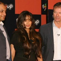 Playup CEO Rajat Kulshrestha, Jiah Khan and Cricketer Steve Waugh at the launch of the Playup's live gaming segment  in New Delhi