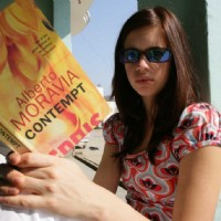 Kalki Koechlin with a book