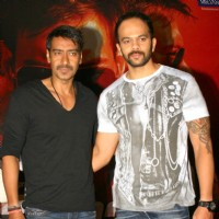 "Ajay Devgan and Rohit Shetty at press meet to promote their film ""Singham"", in New Delhi 