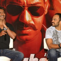 "Ajay and Rohit Shetty at press meet to promote their film ""Singham"", in New Delhi 