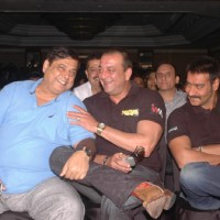 Sanjay Dutt, David Dhawan & Ajay Devgn at the press meet of the film Rascals | Rascals Event Photo Gallery