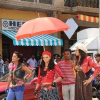 Additi Gupta, Kritika Kamra and Rakhi Sawant during the shooting of Zara Nachke Dikha