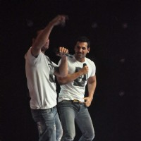 John Abraham and Akshay Kumar on the sets of Star Ya Rockstar at Mahalaxmi