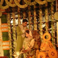 Aishwarya Rai and Abhishek Bachchan in Ash's baby shower ceremony