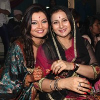 Deepshikha with Poonam Dhillon in her Mata Ki Chowki at Blue Waters