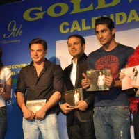 Tulip, Prateik, Shazahn and Sohail Khan at Gold Gym 2012 calendar launch in Bandra, Mumbai