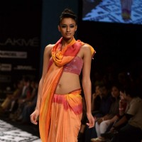 Model on the ramp for designer Anita Dongre on Lakme Fashion Week day 3 in Mumbai.
