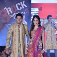 Shreyas Talpade and Shazahn Padamsee of Housefull 2 at fashion show