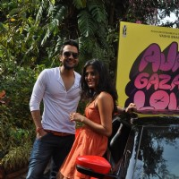 "Jackky Bhagnani and Nidhi Subbaiah during the Mahurat of Movie ""Ajab Gazabb Love"" 