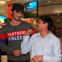 Sushant Singh Rajput With Event Manager At South Africa Airport