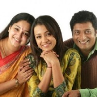 Aishwarya, Trisha and Prakash Raj at a photoshoot for the film Aakasamantha.