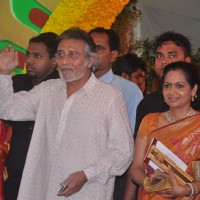 Bollywood Actor Vinod Khanna with his wife Kavita at Esha Deol's wedding at Isckon Temple