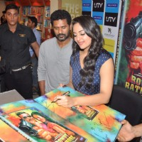 Bollywood actors Akshay Kumar, Sonakshi Sinha and Prabhu Deva at  the Rowdy Rathore Dvd launch in Mumbai. . | Rowdy Rathore Event Photo Gallery