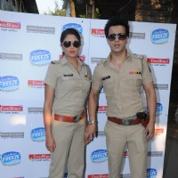 Kavita Kaushik and Aamir Ali on the set of SAB TV popular show FIR