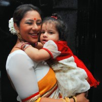 Sai Deodhar with daughter Nakshatra at launch of their Production house Thoughtrain Entertainment