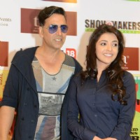 Bollywood actors Akshay Kumar and Kajal Aggarwal at the promotional event of the film Special 26 in Hyderabad on Feb 4. | Special 26 Event Photo Gallery