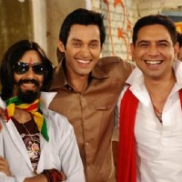 Sumit Vats, Sandeep Baswana and Aakash Pandey at Hitler Didi sets